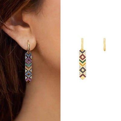 C.try💎69、APM Monaco幾何設計感時尚長牌微鑲復古輕奢耳環💎 精品 耳環 正韓 飾品 高品質925純銀針 台南市