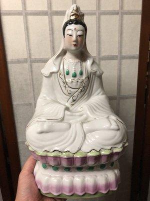 『華山堂』老件 早期 收藏民初 古佛 瓷器 觀音 觀音菩薩 粉彩 觀世音菩薩  坐蓮花觀音菩薩
