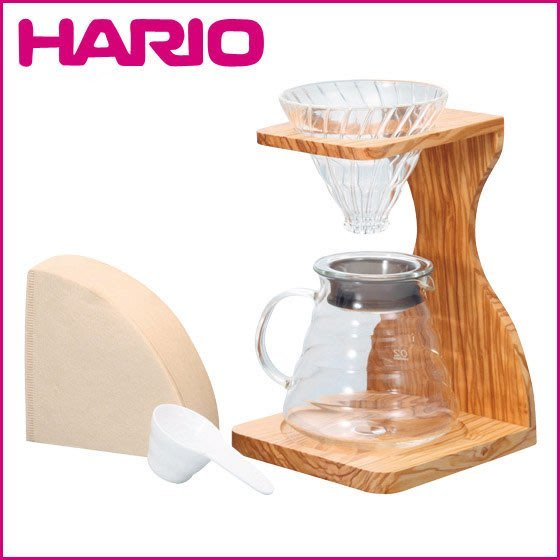 HARIO V60 VSS-1206-OV 玻璃 濾杯橄欖木 木架咖啡壺 五件組 濾泡咖啡 LUCI日本代購空運