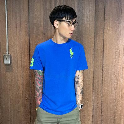 美國百分百【全新真品】Ralph Lauren 短袖T恤 大馬 RL T-shirt 短T 素面 寶藍螢光馬 E102