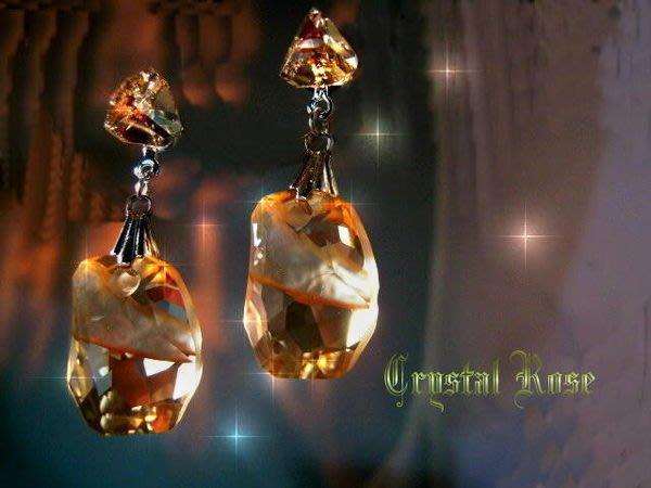 ※水晶玫瑰※ SWAROVSKI 天瑩水晶吊墜 水晶耳針耳環(DD055)~5色可選