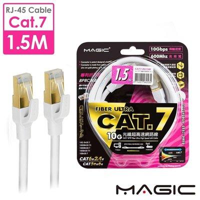 ☆YoYo 3C☆MAGIC Cat.7 SFTP圓線26AWG光纖超高速網路線(專利折不斷接頭)-1.5M