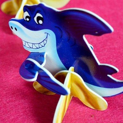 佳廷家庭 親子DIY紙模型3D立體拼圖贈品獎勵品專賣店 昆蟲館動物園 袋裝海洋生物3鯊魚 卡樂保
