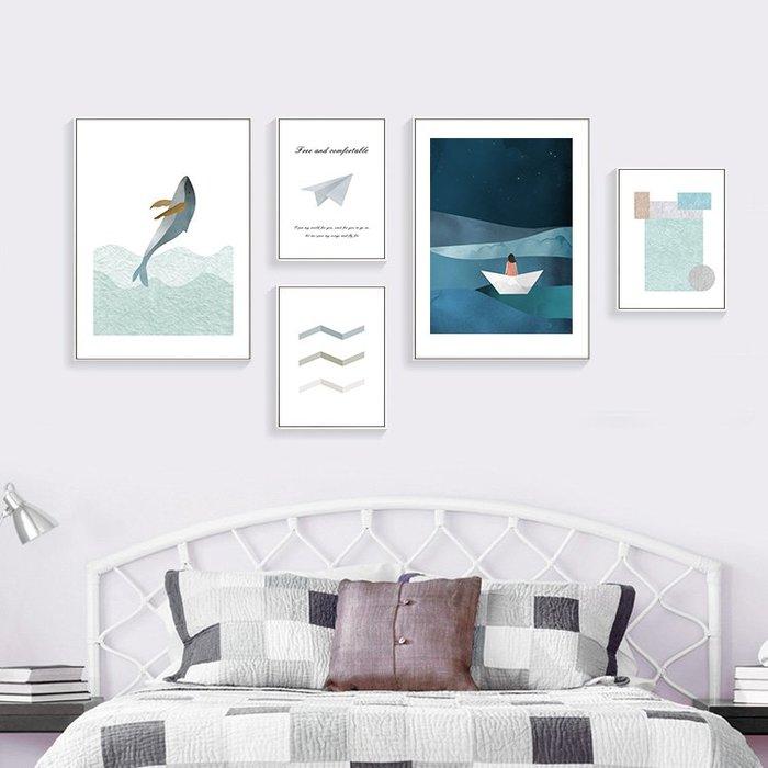 INHUASO 癮|画|所 大海的聲音北歐極簡裝飾畫簡約餐廳組合畫臥室走廊壁畫家居抽象掛畫文藝清新插畫版畫(5款可選)