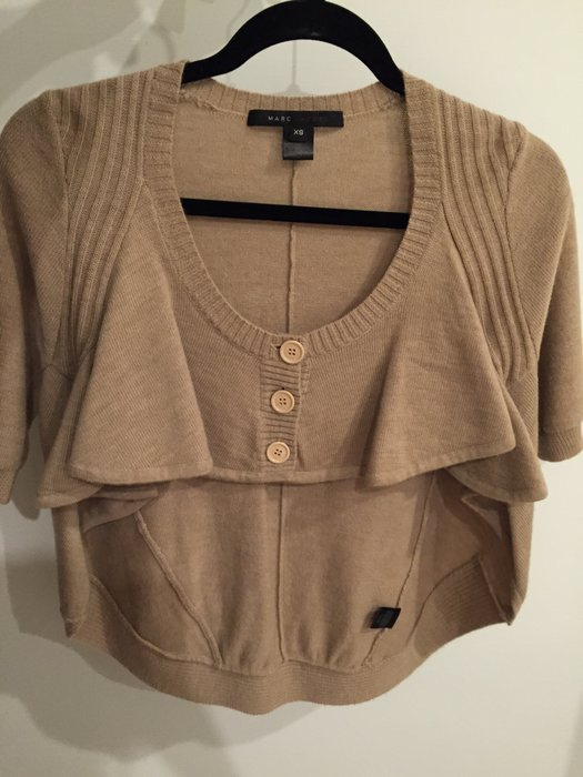 Marc Jacobs 正品 純羊毛短袖秋裝上衣 卡其色 可內搭襯衫跳色