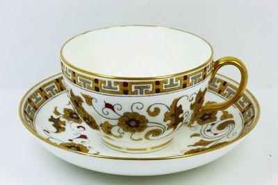 英國古董瓷器 明頓 Minton 手繪 Christopher Dresser 琺瑯釉 東方風格紋樣裝飾杯碟