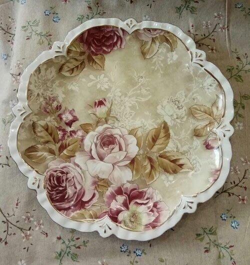 粉紅玫瑰精品屋~歐式玫瑰花園陶瓷果盤~