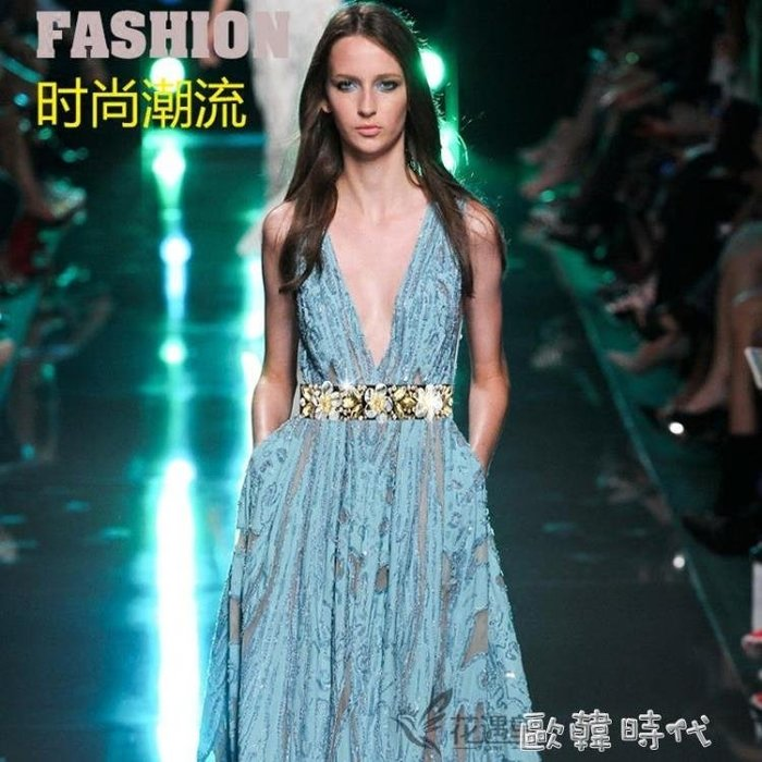 可開發票 新款水鑚鑲嵌鬆緊細腰封裝飾洋裝禮服女士腰帶時尚簡約百搭皮帶  東京現場