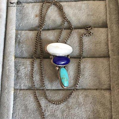 精緻life 美國設計師925純銀天然綠松石青金石彩色寶石吊墜項鏈古董飾品