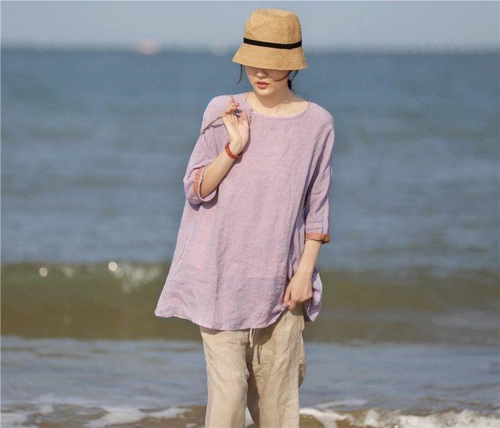 【子芸芳】原創文藝復古淺紫色高端亞麻圓領七分袖寬鬆套頭衫