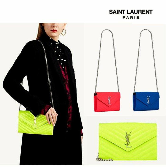 Saint Laurent Paris YSL( 螢光黃色/螢光桃紅/螢光寶藍 ) 立體金屬LOGO 真皮 小肩背包 長夾 皮夾 錢包 |100%全新正品|特價