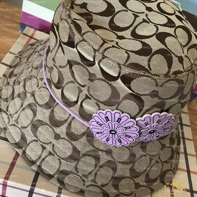 全新真品 Coach 80851 咖啡大C紫色花朵漁夫帽