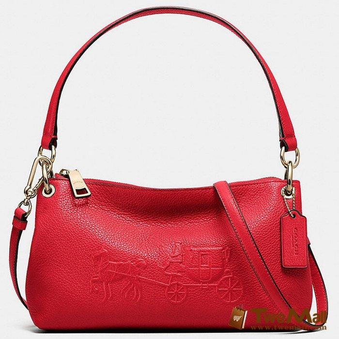 COACH 立體馬車LOGO 肩背 側背 壓花 全皮革 紅色 原廠 全新 專櫃 母親節 原價$9900 特價$7920