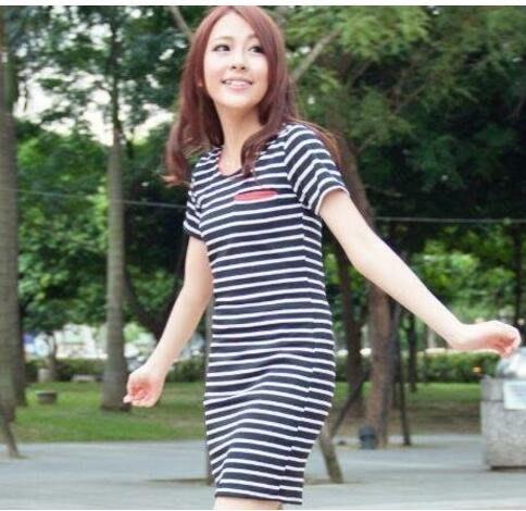 【2395】橫條紋時尚修身短袖連衣裙 樂琪Lucky girl 。只售白色