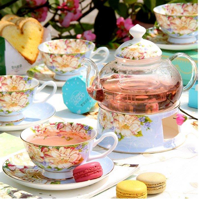 5Cgo【樂趣購】古典玻瑰花茶壺玻璃煮水果茶花果茶陶瓷咖館下午茶貴婦人茶杯玻璃耐熱茶具蠟燭加熱保溫座另有三層蛋糕盤
