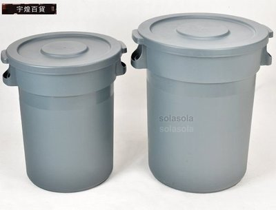 宇煌百貨-清潔 大款戶外垃圾桶單桶環保圓形帶蓋室外-168L.含移動輪