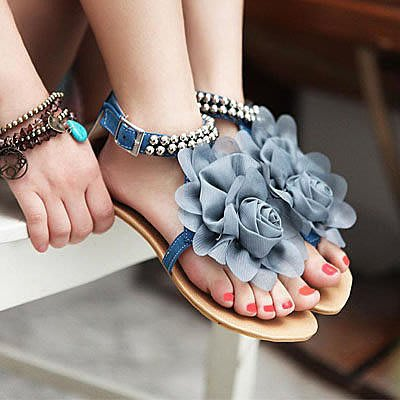 甜美花朵串珠夾腳涼鞋【S456】☆雙兒網☆ (尺碼40號-43號)