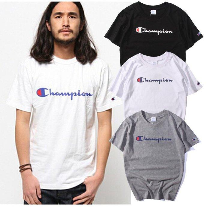 日單街頭余文樂 champion 日本冠軍 T恤 潮牌 短袖 短T 男女T恤純色打底衫 學生春夏新款 STUSSY 短袖