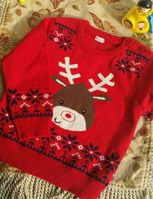 3寶貝愛媽咪揪團GO~男女小童棉針織衫聖誕麋鹿,衣長38cm,適90cm寶貝