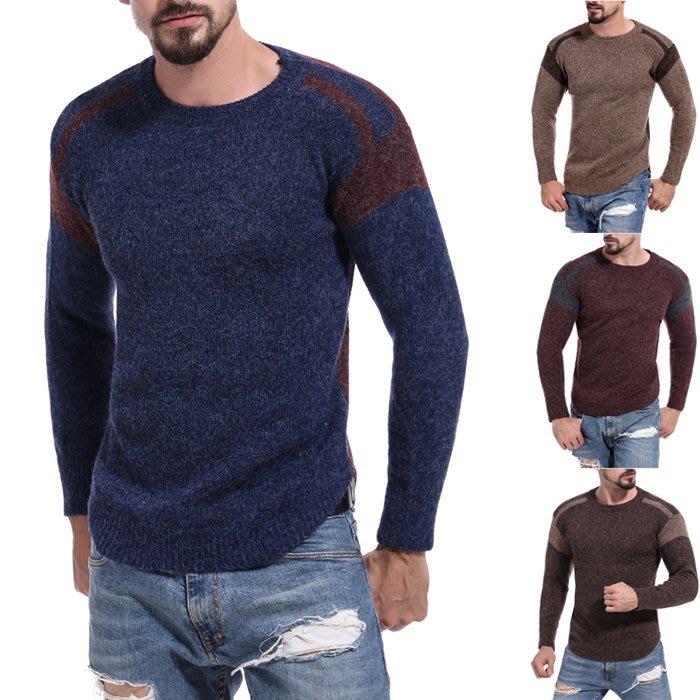 『潮范』 WS11 男士新款拼色圖案毛衣 線衫 潮流撞色外貿鏤空圓領套頭毛衣 打底衫NRG2670