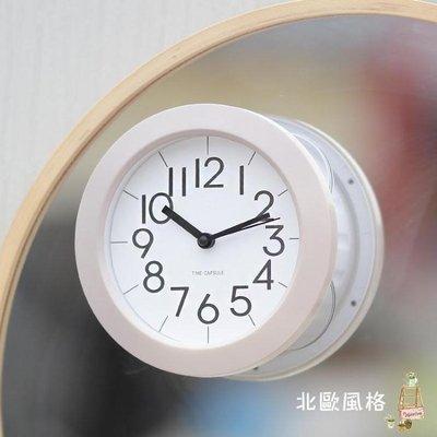 簡約個性浴室鐘廚房防水靜音家用鐘錶吸盤冰箱創意迷你小掛鐘BOFG17965