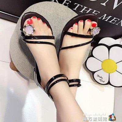 平底涼鞋女夏季新款套趾水鑚純色甜美包跟拉錬軟妹學生羅馬鞋