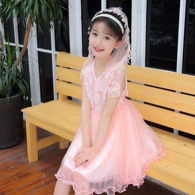 女童洋裝 2018新款夏裝韓版蕾絲漏肩兒童夏季洋氣公主蓬蓬紗 HH2189