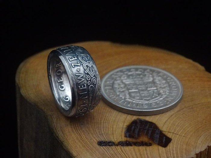 ao.circle 奢扣( 原創新發表 ) 新西蘭1948年 毛利 人圖騰 皇冠 半克朗 手工戒指⋯