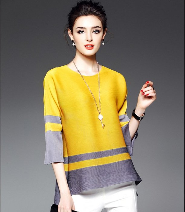 條紋 三宅風 摺皺衣 襯衫 黑白 黃灰 藍 白橘 上衣 t恤 ~ 3H006