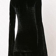 【WEEKEND】 UNRAVEL 絲絨 高領 合身 袖口開岔 長袖 上衣 黑色 18秋冬