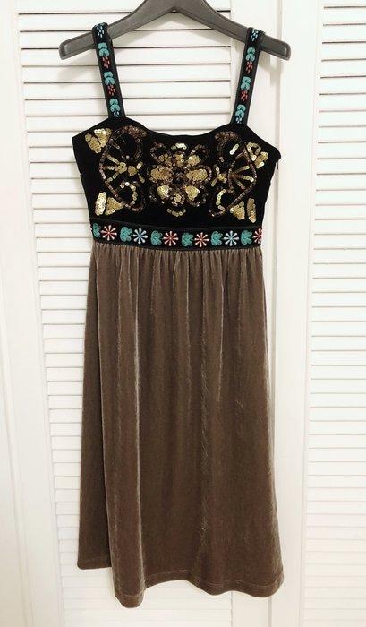 原價$36800 catherine malandrino 華麗刺繡細肩帶天鵝絨高腰洋裝👗