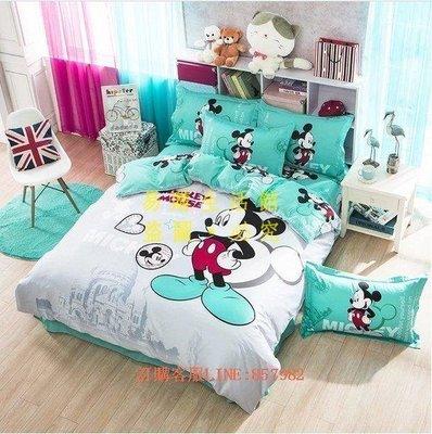 [王哥廠家直销]正版迪士尼 可愛卡通 純棉活性 綠色米奇 床套(單人/ 雙人/加大)床包 床單 床罩 床品 床組 四件套