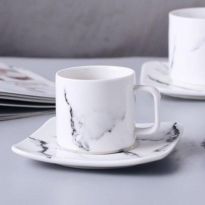 千夢貨鋪-大理石紋陶瓷咖啡杯碟 創意高...