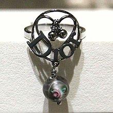 近新正品Dior 限量款黑亮銀玉石玫瑰戒指