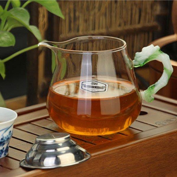 5Cgo【茗道】含稅會員有優惠 41933149405 耐熱玻璃公道杯大號公杯琉璃把大容量紅茶杯茶海功夫茶具含不銹鋼濾網