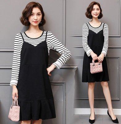GOGO SHOP☆╭韓版新款 時尚百搭條紋拼接背心裙 假兩件連身裙【Y1635】XL~5XL大尺碼洋裝