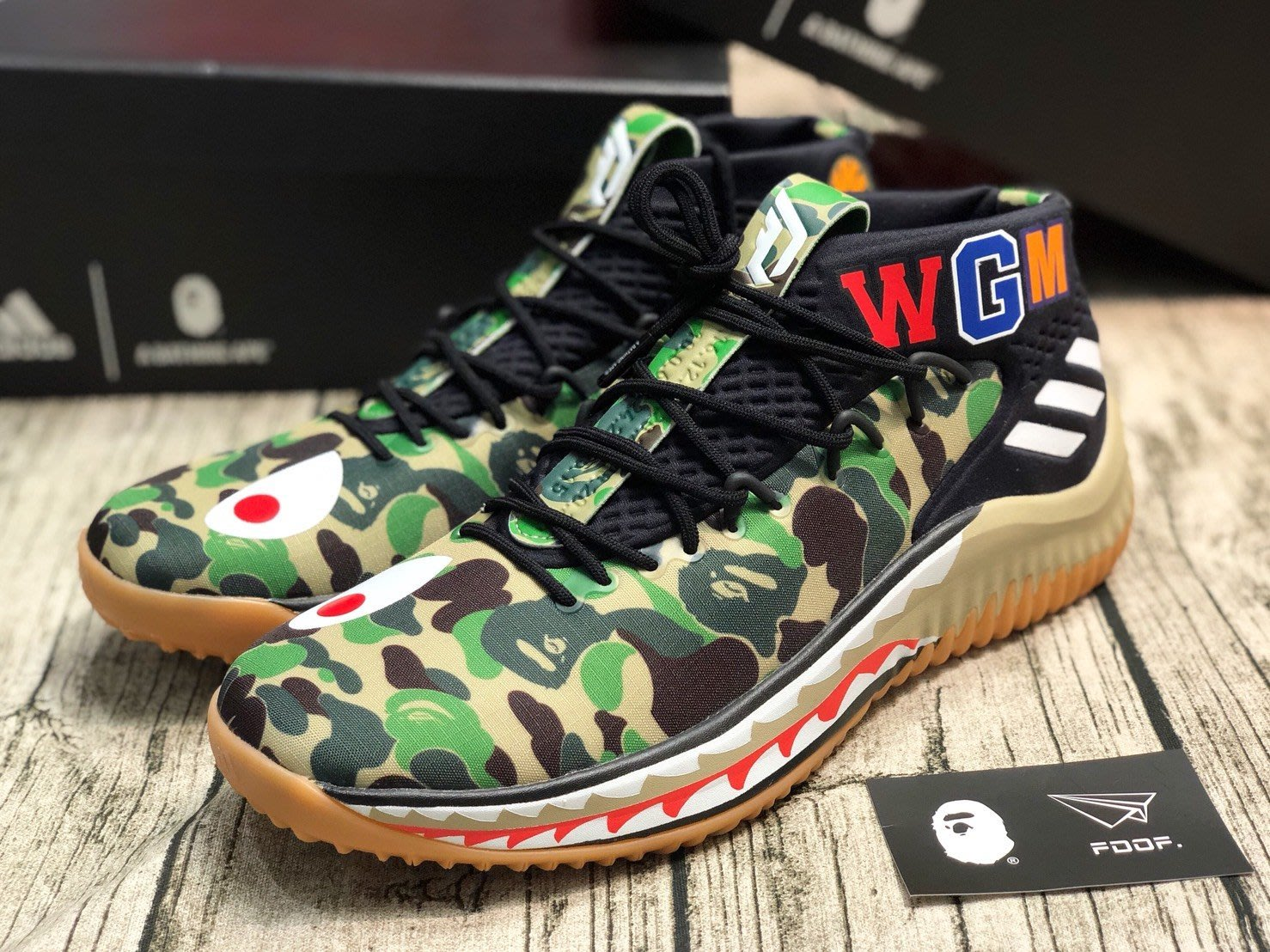 [FDOF] 預購 BAPE x adidas Dame 4 綠迷彩 鯊魚 籃球鞋 美國公司貨/歐洲公司貨
