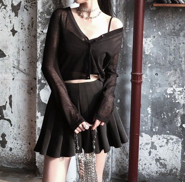 【黑店】百搭針織防曬小外套 黑色針織外套 防曬外套個性薄外套 基本款百搭小外套 個性穿搭暗黑系針織外套空調衫VK116