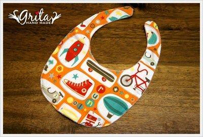 ♥gritas handmade♥純棉手作嬰幼兒圍兜兜/領巾/口水巾/三角巾/彌月禮—運動男孩