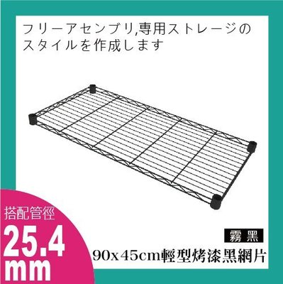 鐵架王 90x45公分輕型烤漆黑色網片 鍍鉻層架 伺服器架 收納架 鐵力士架