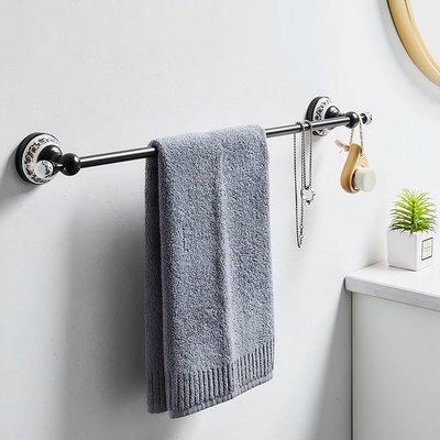 北歐陶瓷毛巾架免打孔衛生間毛巾桿單桿浴室浴巾掛架置物架壁掛式