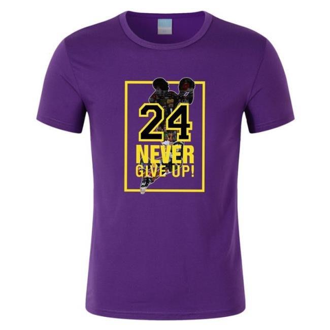 湖人隊24號科比印花籃球短袖T恤球衣男士運動休閑服  town