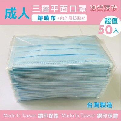 台灣製造 成人三層熔噴布口罩 有MIT鋼印 一次性口罩 防水 防飛沫 防塵 非醫療級 MIT 50片袋裝 有現貨