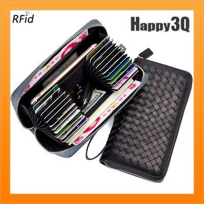 鑰匙包零錢包風琴夾卡片收納長夾有錢人皮夾手機包大容量多功能-黑/藍【AAA4124】