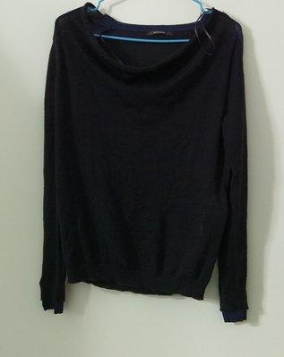 (搬家大出清)法國品牌 KOOKAI 美麗諾羊毛,黑色(有紫藍色在肩、領、袖處)薄料的針織衫/薄毛衣。寬領有彈性。 尺寸 法國 2碼 agnesb jil