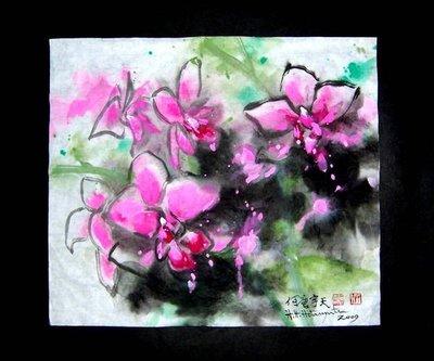 (保證真跡)Q 國際藝術家何唐宇天(何大忠)-水墨-蘭情(C-14)