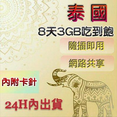 現貨免設定!泰國8天3GB吃到飽上網卡 高速漫遊卡 網路卡 網路SIM卡 行動上網WIFI 熱點分享 泰國網卡