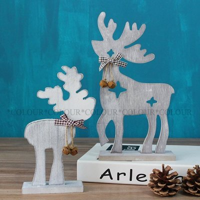 zakka美式鄉村田園風 木質雕空帶鈴鐺的小鹿(一對) 聖誕馴鹿 擺件 家居裝飾 ※ COLOUR歐洲生活家居 ※