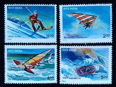 印度郵票運動系列郵票hang gliding滑翔翼風帆滑浪滑雪郵票1992年發行特價