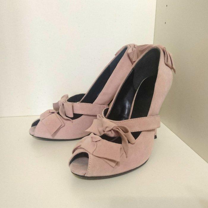 TSURU by Mariko Oikawa粉紅色魚口蝴蝶結中高跟鞋 真皮麂皮 38號24cm